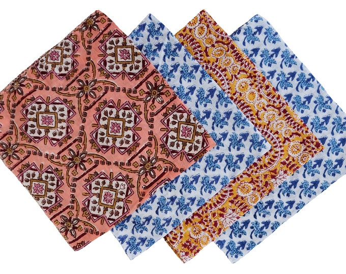Cotton Handkerchiefs, set of 4, assorted prints.