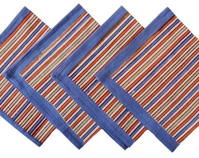 Napkins set of 4, striped napkins