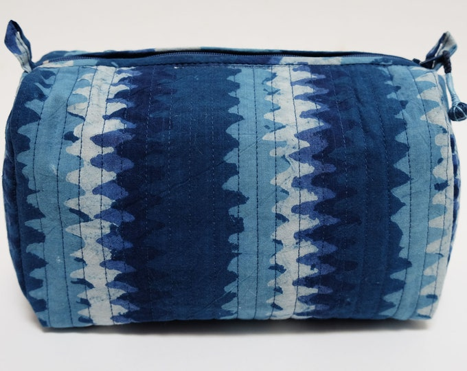 Hand Block Printed Toiletries Bag - Snowflake Indigo