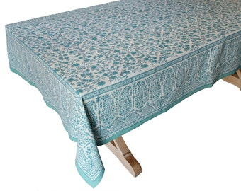 """Hand Block Printed Tablecloth  - Kashan Turquoise - 55"""" x 87"""""""
