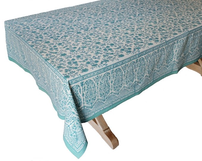 "Hand Block Printed Tablecloth  - Kashan Turquoise - 55"" x 87"""