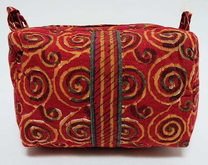 Hand Block Printed Toiletries Bag - Klimt Red