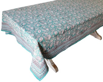 "Hand Block Printed Tablecloth  - Sweet William - 108"" x 70"""