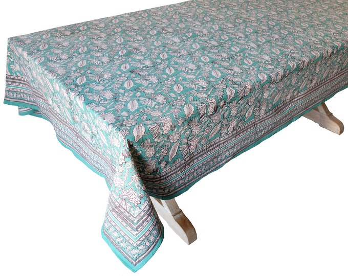 """Hand Block Printed Tablecloth  - Sweet William - 108"""" x 70"""""""