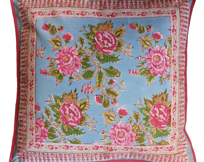 "Cotton Cushion Cover - Sky Rose - Square 18"" x 18"""