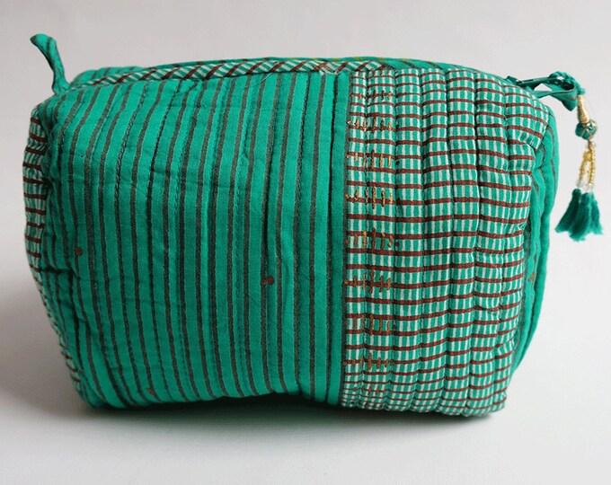 "Hand Block Printed Toiletries Bag - Madras Stripe Green - Medium 8""L x 6""H x 4""D"