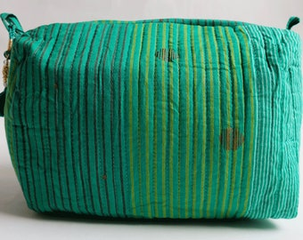 "Hand Block Printed Toiletries Bag - Madras Stripe Green - Large 10""L x 8""H x 6""D"