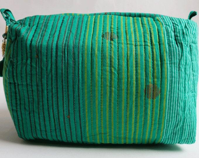 "Hand Block Printed Toiletries Bag - Madras Stripe Green - Large 10""L x 8""H x 6""D"