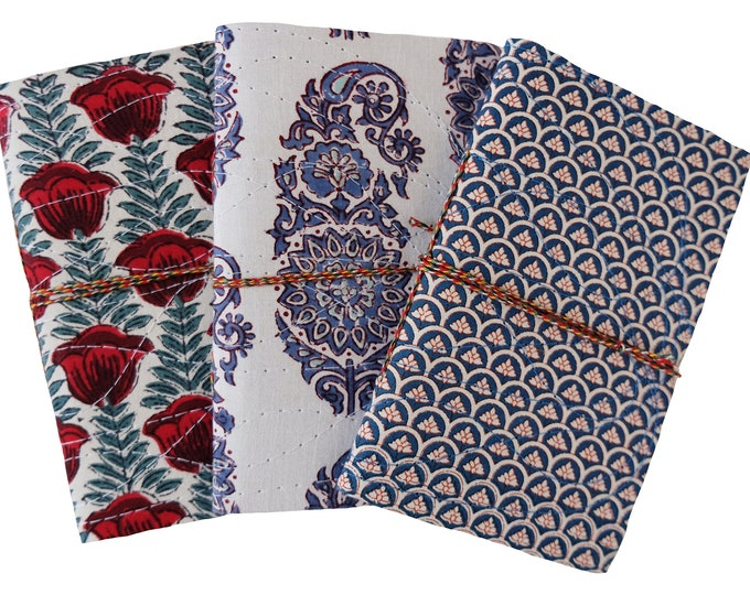 """Cloth covered note books, set of 3 - Large size 7"""" x 4"""""""