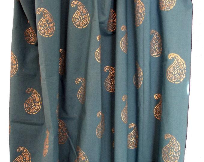 "Hand block printed curtain - Blue Gold Print  47""w x 92"" - Single panel"