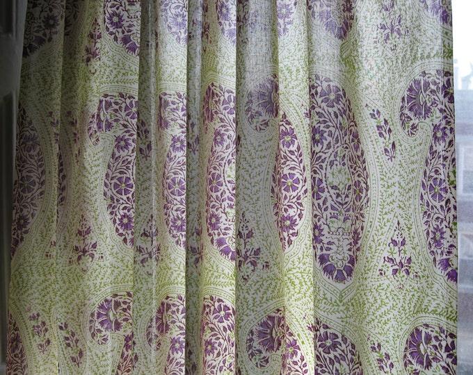 "Hand block printed curtain - Babylon Boota lime 47""w x 92"" l"
