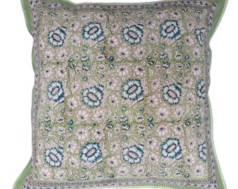 "Cotton Cushion Cover - Rock Flower Lime - Square 24"" x 24"""