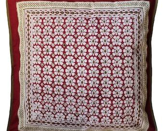 "Reversible cotton Pillow cover - Daisyhead - 18"" x 18"""