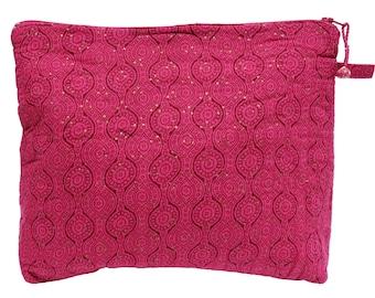 "Hand Block Printed Toiletries Bag - Pink - Large 10""W x 11""H"
