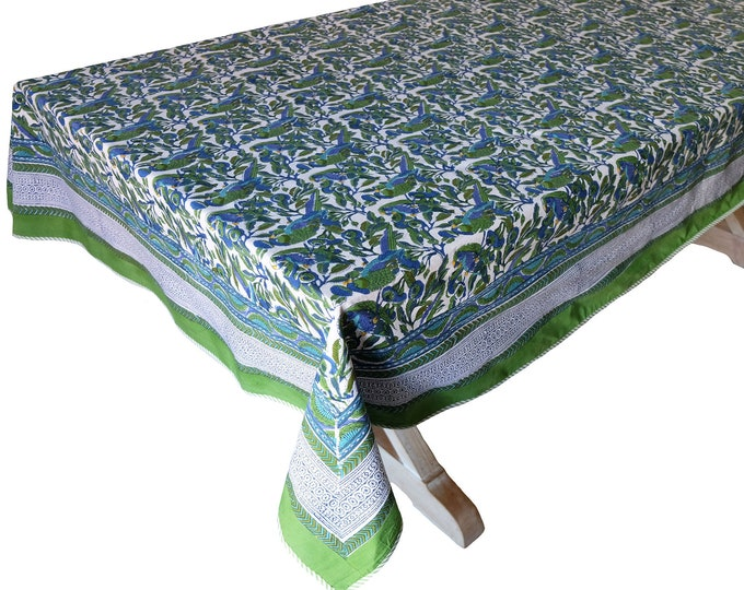 """Hand Block Printed Tablecloth  - Parrot Tree - 60"""" x 90"""""""