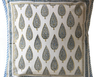 "Cotton Pillow cover - Spear Booti White - 18"" x 18"""