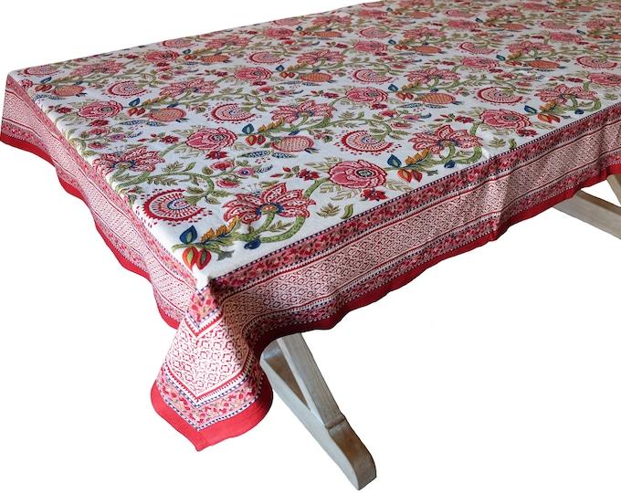 "Hand Block Printed Tablecloth  - Palangposh White - 108"" x 70"""