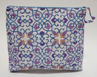 "Hand Block Printed Toiletries Bag - Lilac Trellis - Large 10""W x11""H"