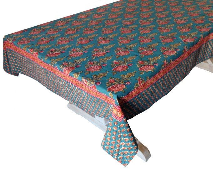"""Hand Block Printed Tablecloth  - Poppy Teal - 60"""" x 90"""""""