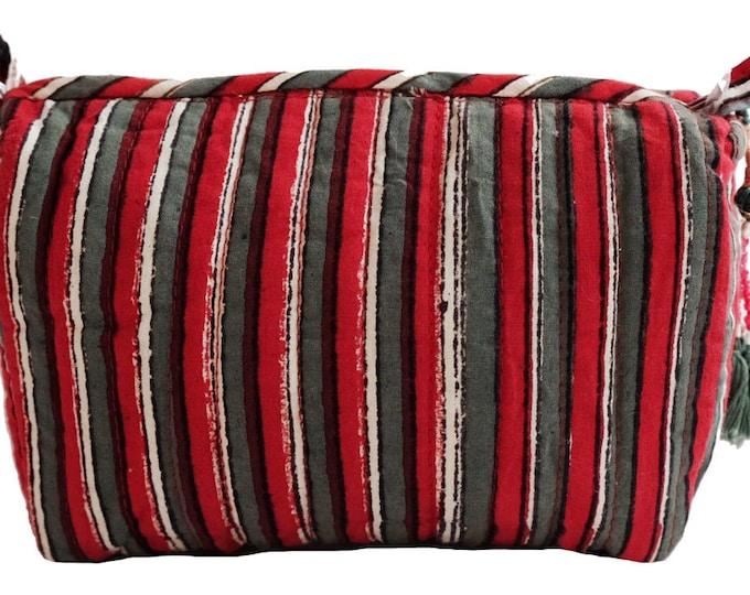 "Hand Block Printed Toiletries Bag - Red stripe - Small 6""L x 4""H x 3""D"