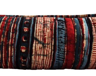 "Hand Block Printed Make up Bag - Indigo and Red Stripe - 8""L x 2.5H"