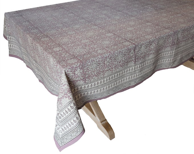 """Hand Block Printed Tablecloth  - Istanbul Lillac - 55"""" x 87"""""""