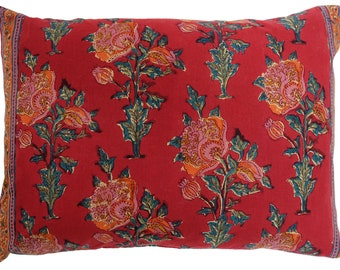 "Cotton Cushion Cover - Poppy - Square 14"" x 20"""
