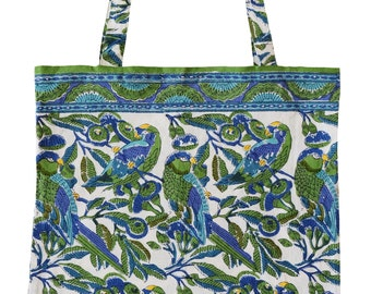 Cotton Tote Bag - Parrots