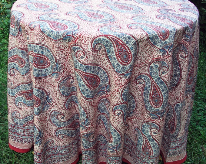 "Hand Block Printed Tablecloth - Russian Paisley Red - 89"" round"