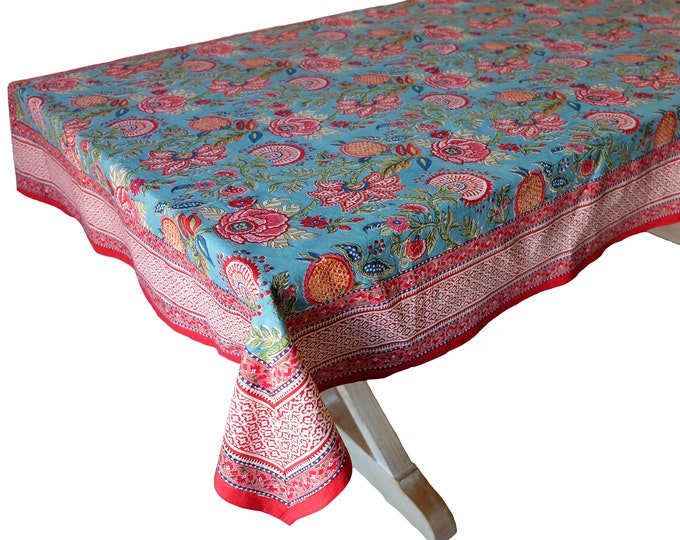 "Hand Block Printed Tablecloth  - Palangposh Blue - 55"" x 87"""