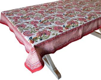"Hand Block Printed Tablecloth  - Palangposh White - 55"" x 87"""