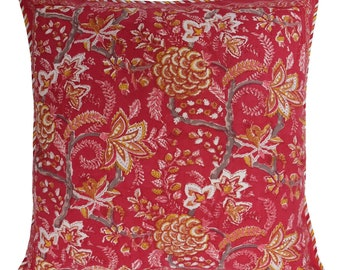 """Cotton Cushion Cover - Tree of Life Red - Square 24"""" x 24"""""""