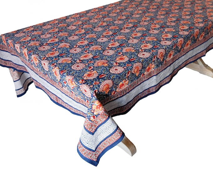"""Hand Block Printed Tablecloth  - Bali Flower Ink - 108"""" x 70"""""""