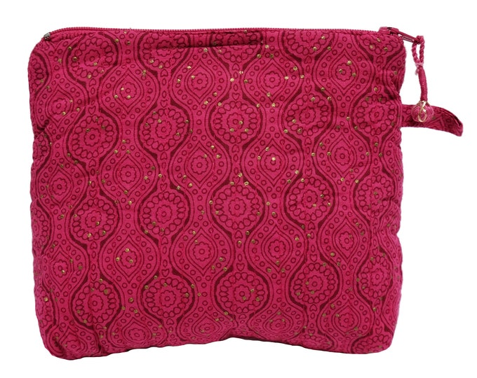 "Printed Cotton Makeup Bag - Pink - Small 6""W x 6""H"