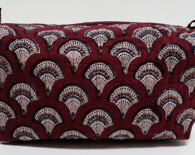 "Hand Block Printed Toiletries Bag - Fans Maroon - Large 10""L x 8""H x 6""D"