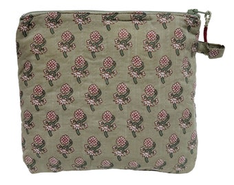 "Printed Cotton Makeup Bag - Sage Booti - Small 6""W x 6""H"