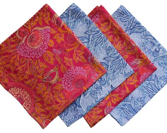 Cotton Printed Handkerchiefs, set of 4.