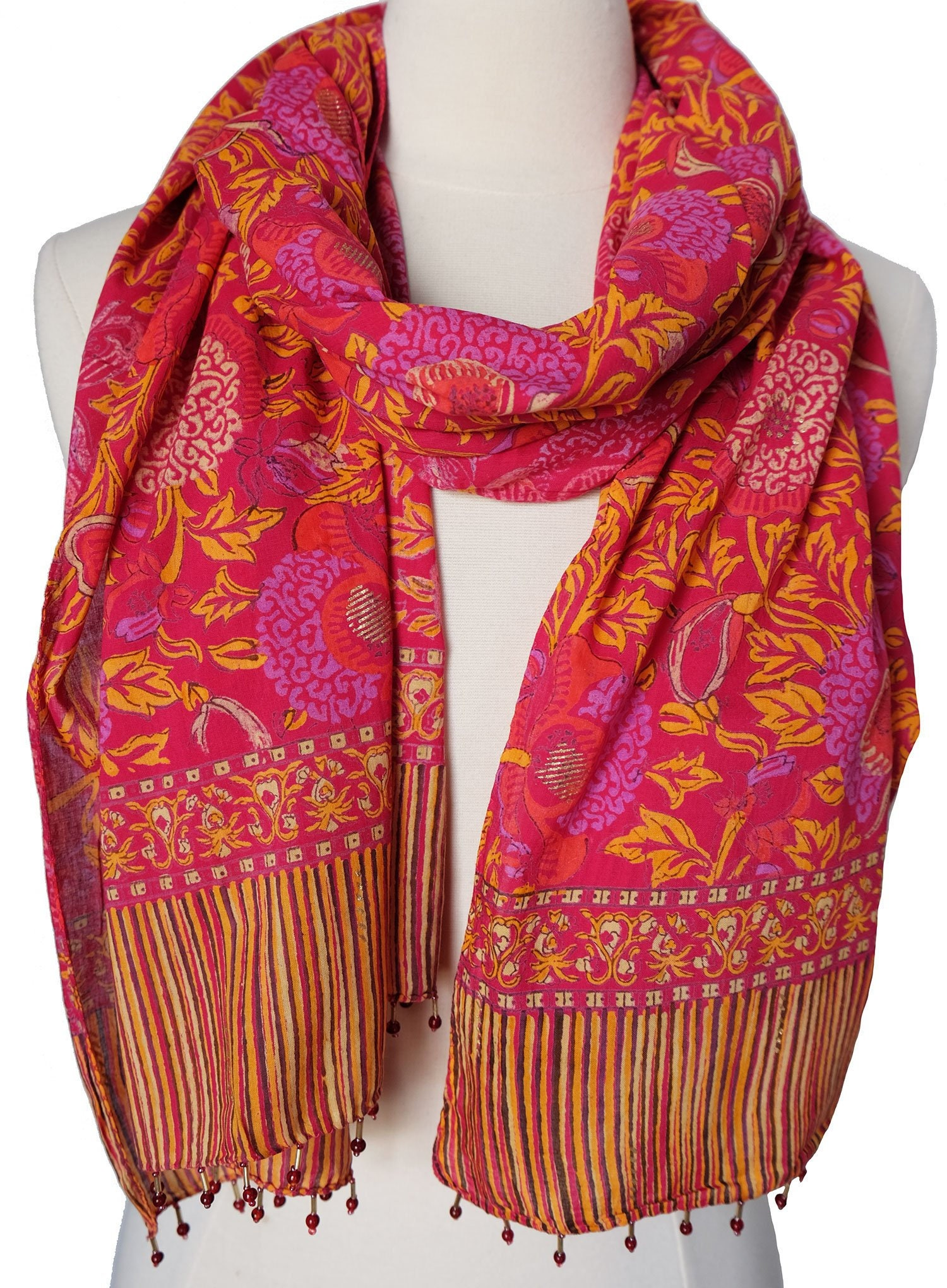 2e6487efd6a Hand Block Printed Scarf - Bali Flower Pink - 22 x 70 - 100% cotton