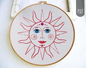 RETRO SUN   PDF Hand Embroidery Pattern