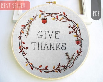 GIVE THANKS    PDF Hand Embroidery Pattern Thanksgiving Holiday