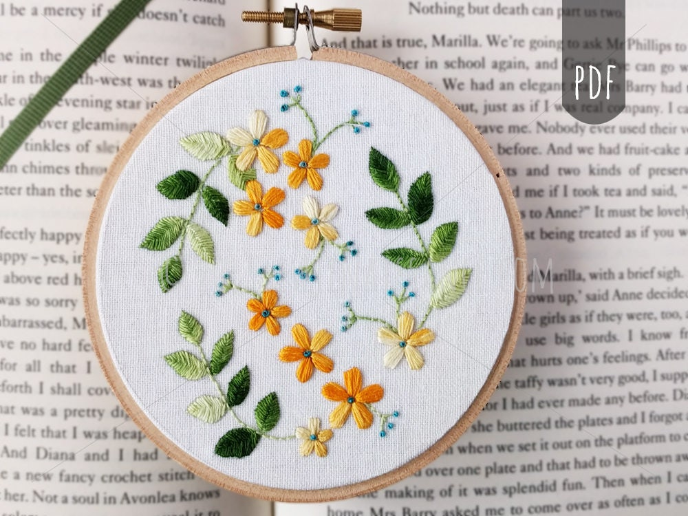 Flowers And Leaves Pdf Hand Embroidery Pattern Botanical Etsy