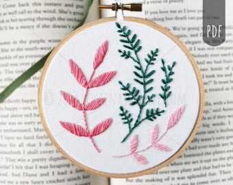 PDF Hand Embroidery Pattern | Botanical One - Satin and Stem