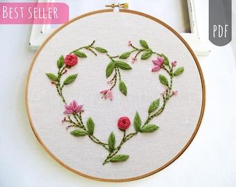 VALENTINE HEART Botanical   PDF Hand Embroidery Pattern