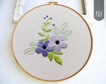 FLOWERS &  LEAVES Botanical    Pdf Hand Embroidery Pattern