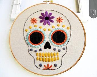 Sugar Skull Halloween   PDF Hand Embroidery Pattern