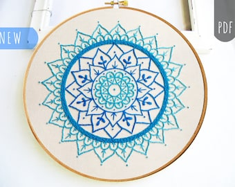 MANDALA In Blue     PDF Hand Embroidery Pattern