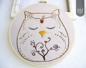 FALL OWL Acorn and Spiral Tree   PDF Hand Embroidery Pattern