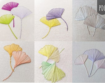 GINGKO LEAVES COLLECTION   Pdf Hand Embroidery Pattern