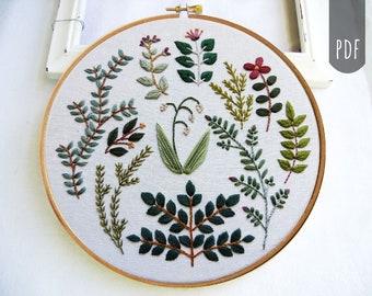 BOTANICAL MOTIFS   Pdf Hand Embroidery  Leaves Flowers All Seasons