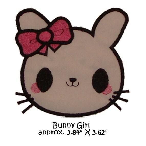 applique machine embroidery kawaii bunny girl version